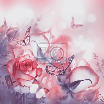 Букет из свежих роз, цветок яркий фон и бабочка., 20x20 см, на бумагеБабочки<br>Постер на холсте или бумаге. Любого нужного вам размера. В раме или без. Подвес в комплекте. Трехслойная надежная упаковка. Доставим в любую точку России. Вам осталось только повесить картину на стену!<br>