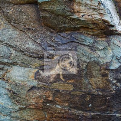 Постер Древние петроглифы, высеченные в скалах. Камни с петроглифами в Чуйской степи, степи Курай в Сибирском Алтае, Россия, 20x20 см, на бумагеНаскальные рисунки<br>Постер на холсте или бумаге. Любого нужного вам размера. В раме или без. Подвес в комплекте. Трехслойная надежная упаковка. Доставим в любую точку России. Вам осталось только повесить картину на стену!<br>