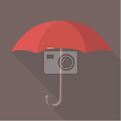 Постер-картина Минимализм Векторные иллюстрации длинную тень плоские иконка красный зонтикМинимализм<br>Постер на холсте или бумаге. Любого нужного вам размера. В раме или без. Подвес в комплекте. Трехслойная надежная упаковка. Доставим в любую точку России. Вам осталось только повесить картину на стену!<br>