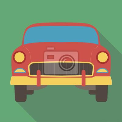 Постер-картина Минимализм Векторные иллюстрации длинную тень плоские икона классический американский автомобильМинимализм<br>Постер на холсте или бумаге. Любого нужного вам размера. В раме или без. Подвес в комплекте. Трехслойная надежная упаковка. Доставим в любую точку России. Вам осталось только повесить картину на стену!<br>