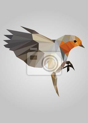 Постер-картина Полигональный арт Летящая птица стоит и смотрит векторПолигональный арт<br>Постер на холсте или бумаге. Любого нужного вам размера. В раме или без. Подвес в комплекте. Трехслойная надежная упаковка. Доставим в любую точку России. Вам осталось только повесить картину на стену!<br>