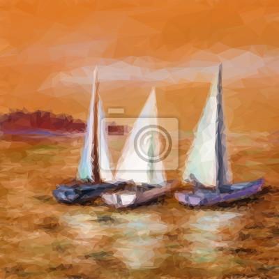 Пейзаж современный морской Пейзаж, парусники яхты, плавающие в море, низкополигональная картинка. ВекторПейзаж современный морской<br>Репродукция на холсте или бумаге. Любого нужного вам размера. В раме или без. Подвес в комплекте. Трехслойная надежная упаковка. Доставим в любую точку России. Вам осталось только повесить картину на стену!<br>