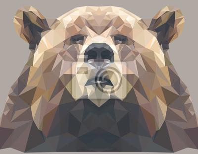 Постер-картина Полигональный арт Бурый медведь портрет. Абстрактный дизайн, низкая поли. Векторные иллюстрации.Полигональный арт<br>Постер на холсте или бумаге. Любого нужного вам размера. В раме или без. Подвес в комплекте. Трехслойная надежная упаковка. Доставим в любую точку России. Вам осталось только повесить картину на стену!<br>