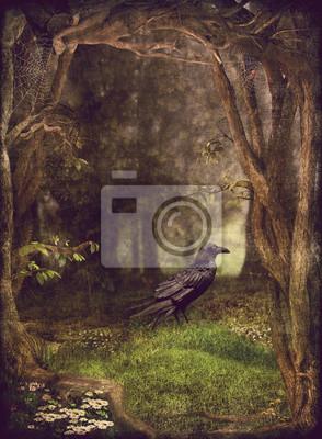 Постер Вечер Иллюстратор показывают ворона в темном лесу Вечер<br>Постер на холсте или бумаге. Любого нужного вам размера. В раме или без. Подвес в комплекте. Трехслойная надежная упаковка. Доставим в любую точку России. Вам осталось только повесить картину на стену!<br>