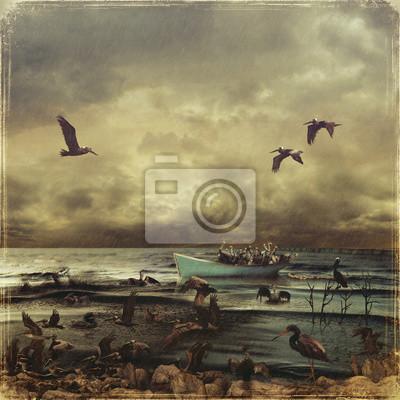 Пейзаж современный морской Разлив нефти в море. Спасение пеликановПейзаж современный морской<br>Репродукция на холсте или бумаге. Любого нужного вам размера. В раме или без. Подвес в комплекте. Трехслойная надежная упаковка. Доставим в любую точку России. Вам осталось только повесить картину на стену!<br>