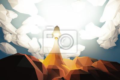 Постер-картина Полигональный арт Взрывает космическую ракету из cosmodrom в облаках, многоугольныеПолигональный арт<br>Постер на холсте или бумаге. Любого нужного вам размера. В раме или без. Подвес в комплекте. Трехслойная надежная упаковка. Доставим в любую точку России. Вам осталось только повесить картину на стену!<br>