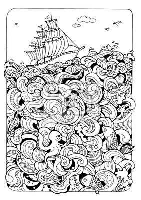 Постер-картина Раскраски антистресс Раскраски страницу с лодки и мореРаскраски антистресс<br>Постер на холсте или бумаге. Любого нужного вам размера. В раме или без. Подвес в комплекте. Трехслойная надежная упаковка. Доставим в любую точку России. Вам осталось только повесить картину на стену!<br>