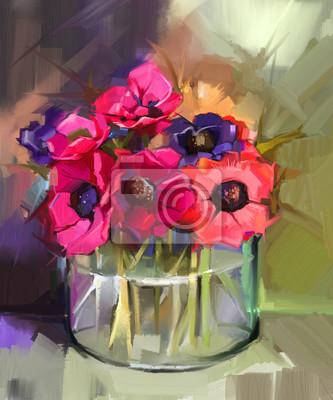 Постер Цветы Натюрморт букет цветов. Картина маслом красный цветок анемоны в стеклянной вазе. Ручная роспись цветы в стиле импрессионистов , 20x24 см, на бумагеАнемона<br>Постер на холсте или бумаге. Любого нужного вам размера. В раме или без. Подвес в комплекте. Трехслойная надежная упаковка. Доставим в любую точку России. Вам осталось только повесить картину на стену!<br>