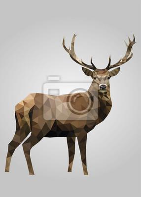 Постер-картина Полигональный арт Олень животное стоит и смотрит векторПолигональный арт<br>Постер на холсте или бумаге. Любого нужного вам размера. В раме или без. Подвес в комплекте. Трехслойная надежная упаковка. Доставим в любую точку России. Вам осталось только повесить картину на стену!<br>