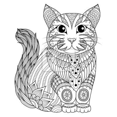 Постер-картина Раскраски антистресс Рисунок zentangle кот для окраски страницы, эффект дизайн футболки, логотипы, татуировки и украшения.Раскраски антистресс<br>Постер на холсте или бумаге. Любого нужного вам размера. В раме или без. Подвес в комплекте. Трехслойная надежная упаковка. Доставим в любую точку России. Вам осталось только повесить картину на стену!<br>
