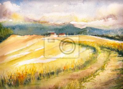 Постер Тоскана Страна пейзаж с типичные холмы Тосканы в Италии. Акварели, живопись. Тоскана<br>Постер на холсте или бумаге. Любого нужного вам размера. В раме или без. Подвес в комплекте. Трехслойная надежная упаковка. Доставим в любую точку России. Вам осталось только повесить картину на стену!<br>