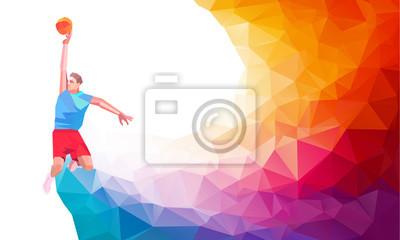 Постер-картина Полигональный арт Многоугольная Геометрическая иллюстрация стиль баскетболист бросок в прыжке съемки перемычки прыжки смотреть со стороны набор на красочном низкой поли фоне.Полигональный арт<br>Постер на холсте или бумаге. Любого нужного вам размера. В раме или без. Подвес в комплекте. Трехслойная надежная упаковка. Доставим в любую точку России. Вам осталось только повесить картину на стену!<br>