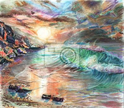 Пейзаж современный морской Ручная роспись морской пейзаж бушующего прибоя,закатаПейзаж современный морской<br>Репродукция на холсте или бумаге. Любого нужного вам размера. В раме или без. Подвес в комплекте. Трехслойная надежная упаковка. Доставим в любую точку России. Вам осталось только повесить картину на стену!<br>
