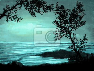 Пейзаж современный морской Акрил лунный свет фон с силуэт дереваПейзаж современный морской<br>Репродукция на холсте или бумаге. Любого нужного вам размера. В раме или без. Подвес в комплекте. Трехслойная надежная упаковка. Доставим в любую точку России. Вам осталось только повесить картину на стену!<br>