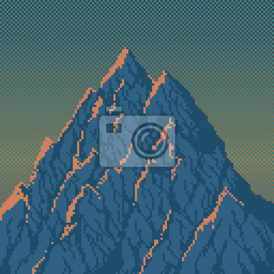 Постер-картина Пиксель-арт Горы на рассвете - пиксель Арт иллюстрацииПиксель-арт<br>Постер на холсте или бумаге. Любого нужного вам размера. В раме или без. Подвес в комплекте. Трехслойная надежная упаковка. Доставим в любую точку России. Вам осталось только повесить картину на стену!<br>