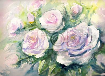 Цветы в современной живописи, картина Крупным планом кучу акварель Белые розы пропыхтелЦветы в современной живописи<br>Репродукция на холсте или бумаге. Любого нужного вам размера. В раме или без. Подвес в комплекте. Трехслойная надежная упаковка. Доставим в любую точку России. Вам осталось только повесить картину на стену!<br>