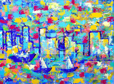 Постер Современный городской пейзаж Абстрактная живопись с башнями из Ванкувера.Современный городской пейзаж<br>Постер на холсте или бумаге. Любого нужного вам размера. В раме или без. Подвес в комплекте. Трехслойная надежная упаковка. Доставим в любую точку России. Вам осталось только повесить картину на стену!<br>