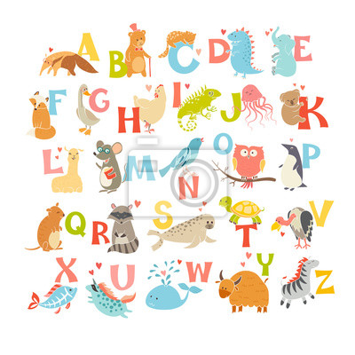 Милые векторные зоопарк алфавит. Забавный мультфильм животных. Векторные иллюстрации EPS10 изолированные на белом фоне. Письма. Научиться читать, 20x20 см, на бумагеАлфавит<br>Постер на холсте или бумаге. Любого нужного вам размера. В раме или без. Подвес в комплекте. Трехслойная надежная упаковка. Доставим в любую точку России. Вам осталось только повесить картину на стену!<br>