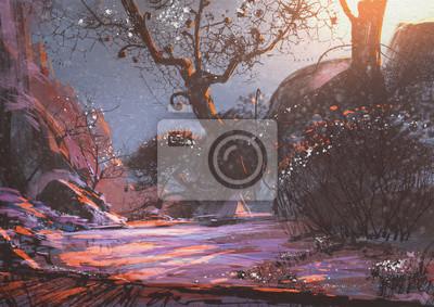 Постер Утро Красивый зимний закат с фантазией деревья в снегуУтро<br>Постер на холсте или бумаге. Любого нужного вам размера. В раме или без. Подвес в комплекте. Трехслойная надежная упаковка. Доставим в любую точку России. Вам осталось только повесить картину на стену!<br>