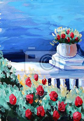 Средиземноморье, современный пейзаж Картина маслом цветок и мореСредиземноморье, современный пейзаж<br>Репродукция на холсте или бумаге. Любого нужного вам размера. В раме или без. Подвес в комплекте. Трехслойная надежная упаковка. Доставим в любую точку России. Вам осталось только повесить картину на стену!<br>