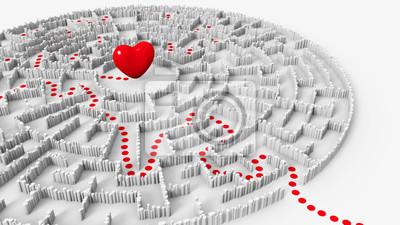 Постер-картина Лабиринт Красное сердце в центре круговой лабиринт и путь к немуЛабиринт<br>Постер на холсте или бумаге. Любого нужного вам размера. В раме или без. Подвес в комплекте. Трехслойная надежная упаковка. Доставим в любую точку России. Вам осталось только повесить картину на стену!<br>