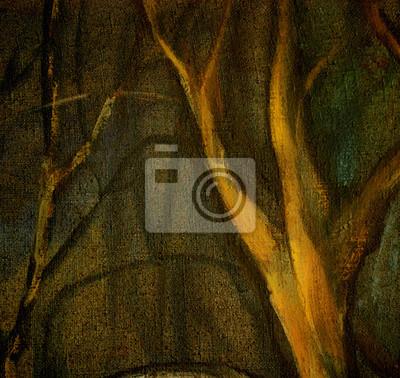 Постер Ночь Масло на холсте пейзаж, деревья в ночном паркеНочь<br>Постер на холсте или бумаге. Любого нужного вам размера. В раме или без. Подвес в комплекте. Трехслойная надежная упаковка. Доставим в любую точку России. Вам осталось только повесить картину на стену!<br>