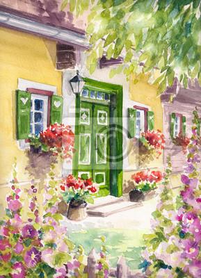 Средиземноморье, современный пейзаж Главный вход в дом с зеленой дверью и цветы.Картины, созданные с помощью акварели.Средиземноморье, современный пейзаж<br>Репродукция на холсте или бумаге. Любого нужного вам размера. В раме или без. Подвес в комплекте. Трехслойная надежная упаковка. Доставим в любую точку России. Вам осталось только повесить картину на стену!<br>
