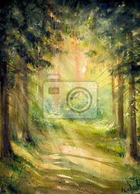 Постер Утро Солнечный летний лес.Картины, созданные с помощью акварели.Утро<br>Постер на холсте или бумаге. Любого нужного вам размера. В раме или без. Подвес в комплекте. Трехслойная надежная упаковка. Доставим в любую точку России. Вам осталось только повесить картину на стену!<br>
