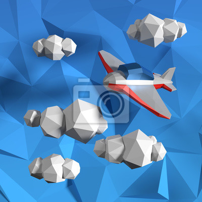 Постер-картина Полигональный арт Низкополигональная небо с облаками и маленький самолетикПолигональный арт<br>Постер на холсте или бумаге. Любого нужного вам размера. В раме или без. Подвес в комплекте. Трехслойная надежная упаковка. Доставим в любую точку России. Вам осталось только повесить картину на стену!<br>