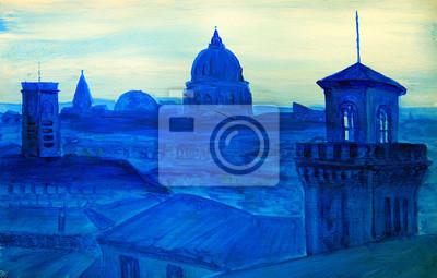 Постер Современный городской пейзаж Картина французского городаСовременный городской пейзаж<br>Постер на холсте или бумаге. Любого нужного вам размера. В раме или без. Подвес в комплекте. Трехслойная надежная упаковка. Доставим в любую точку России. Вам осталось только повесить картину на стену!<br>