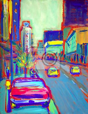 Постер Современный городской пейзаж Картина американской улицеСовременный городской пейзаж<br>Постер на холсте или бумаге. Любого нужного вам размера. В раме или без. Подвес в комплекте. Трехслойная надежная упаковка. Доставим в любую точку России. Вам осталось только повесить картину на стену!<br>
