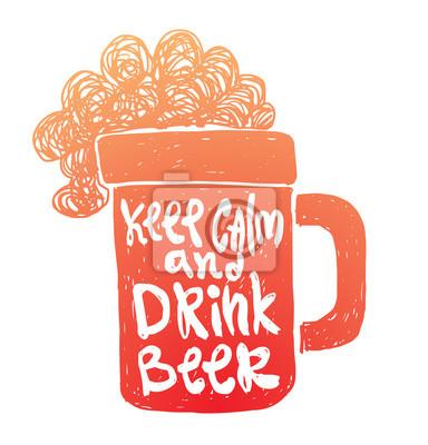 Постер Мотивационный вектор карта с мультфильм изображения оранжевый силуэт кружка пива с белой надписью сохранять спокойствие и пить пиво на белом фоне. Ручной обращается плакат типография. Цитаты, фразы.Keep Calm<br>Постер на холсте или бумаге. Любого нужного вам размера. В раме или без. Подвес в комплекте. Трехслойная надежная упаковка. Доставим в любую точку России. Вам осталось только повесить картину на стену!<br>
