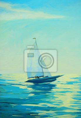 Пейзаж современный морской Яхта с парусом на утреннем средиземноморском побережье, живописьПейзаж современный морской<br>Репродукция на холсте или бумаге. Любого нужного вам размера. В раме или без. Подвес в комплекте. Трехслойная надежная упаковка. Доставим в любую точку России. Вам осталось только повесить картину на стену!<br>