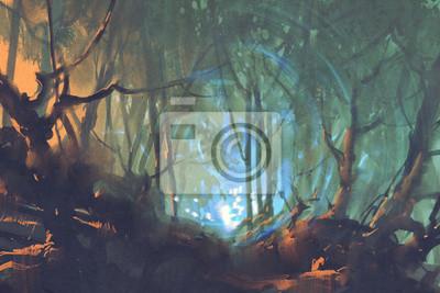 Постер Ночь Темный лес с таинственный свет,живопись иллюстрацияНочь<br>Постер на холсте или бумаге. Любого нужного вам размера. В раме или без. Подвес в комплекте. Трехслойная надежная упаковка. Доставим в любую точку России. Вам осталось только повесить картину на стену!<br>