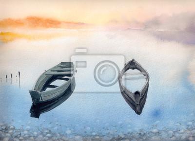 Пейзаж современный морской Две старые лодки на озере.Картины, созданные с помощью акварели.Пейзаж современный морской<br>Репродукция на холсте или бумаге. Любого нужного вам размера. В раме или без. Подвес в комплекте. Трехслойная надежная упаковка. Доставим в любую точку России. Вам осталось только повесить картину на стену!<br>