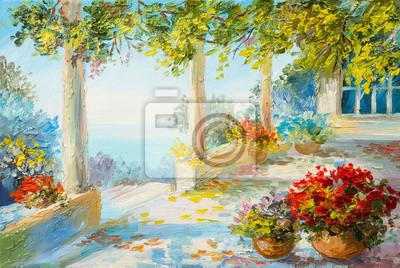 Средиземноморье, современный пейзаж Картина маслом пейзаж - терраса возле моря, цветыСредиземноморье, современный пейзаж<br>Репродукция на холсте или бумаге. Любого нужного вам размера. В раме или без. Подвес в комплекте. Трехслойная надежная упаковка. Доставим в любую точку России. Вам осталось только повесить картину на стену!<br>