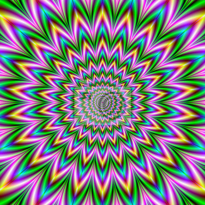 Копье, кольца, точки / абстрактный фрактальных изображений с оптически сложных психоделических круговую диаграмму в розовый, зеленый, желтый и синий., 20x20 см, на бумагеОптическое искусство<br>Постер на холсте или бумаге. Любого нужного вам размера. В раме или без. Подвес в комплекте. Трехслойная надежная упаковка. Доставим в любую точку России. Вам осталось только повесить картину на стену!<br>