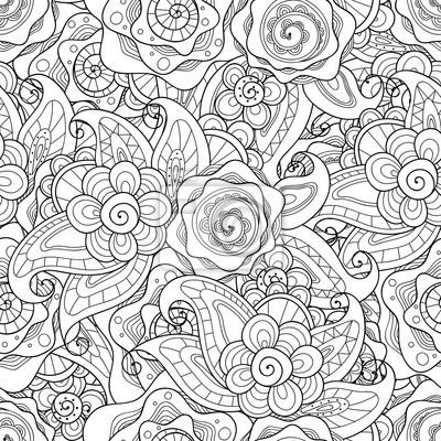 Постер-картина Раскраски антистресс Каракули цветы бесшовные шаблон. Стиль Zentangle цветы и листья фон. Черный и белый рисованной узор трав.Раскраски антистресс<br>Постер на холсте или бумаге. Любого нужного вам размера. В раме или без. Подвес в комплекте. Трехслойная надежная упаковка. Доставим в любую точку России. Вам осталось только повесить картину на стену!<br>