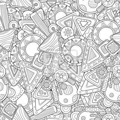 Постер-картина Раскраски антистресс Каракули черный и белый абстрактный рисованной фон. Стиль Zentangle бесшовные шаблон.Раскраски антистресс<br>Постер на холсте или бумаге. Любого нужного вам размера. В раме или без. Подвес в комплекте. Трехслойная надежная упаковка. Доставим в любую точку России. Вам осталось только повесить картину на стену!<br>