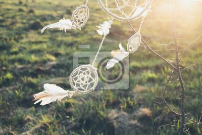 Постер Ловец снов висит от дерева в поле на закатеЛовцы снов<br>Постер на холсте или бумаге. Любого нужного вам размера. В раме или без. Подвес в комплекте. Трехслойная надежная упаковка. Доставим в любую точку России. Вам осталось только повесить картину на стену!<br>