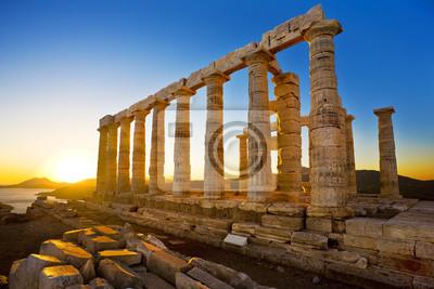 Греция. Мыс Сунион - руины древнегреческого храма Посейдона до заката, 30x20 см, на бумагеГреция<br>Постер на холсте или бумаге. Любого нужного вам размера. В раме или без. Подвес в комплекте. Трехслойная надежная упаковка. Доставим в любую точку России. Вам осталось только повесить картину на стену!<br>