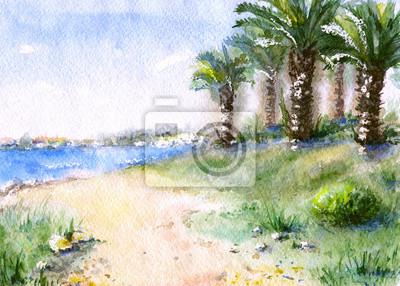 Пейзаж современный морской Акварель тропический вид с моря и пальм.Пейзаж современный морской<br>Репродукция на холсте или бумаге. Любого нужного вам размера. В раме или без. Подвес в комплекте. Трехслойная надежная упаковка. Доставим в любую точку России. Вам осталось только повесить картину на стену!<br>