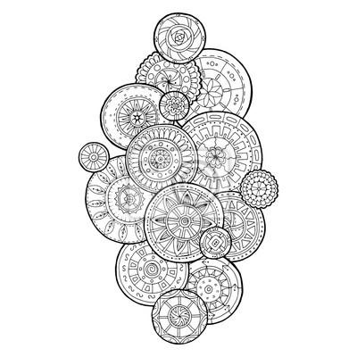 Постер-картина Раскраски антистресс Летние цветочные круги каракули орнамент. Ручная роспись арт-мандалы.Раскраски антистресс<br>Постер на холсте или бумаге. Любого нужного вам размера. В раме или без. Подвес в комплекте. Трехслойная надежная упаковка. Доставим в любую точку России. Вам осталось только повесить картину на стену!<br>