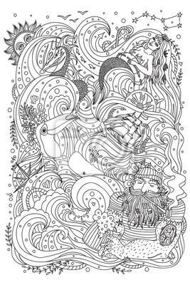 Постер-картина Раскраски антистресс Монохромный орнамент раскраска для взрослых. Тема моря - старый моряк, русалка, экзотических существ, корабль, рыбы, морских волн.Раскраски антистресс<br>Постер на холсте или бумаге. Любого нужного вам размера. В раме или без. Подвес в комплекте. Трехслойная надежная упаковка. Доставим в любую точку России. Вам осталось только повесить картину на стену!<br>