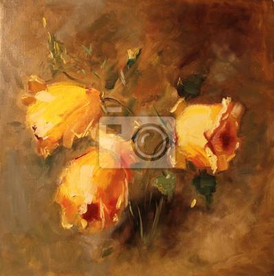 Цветы в современной живописи, картина Искусство картина маслом картина Желтые розы на коричневом фонеЦветы в современной живописи<br>Репродукция на холсте или бумаге. Любого нужного вам размера. В раме или без. Подвес в комплекте. Трехслойная надежная упаковка. Доставим в любую точку России. Вам осталось только повесить картину на стену!<br>