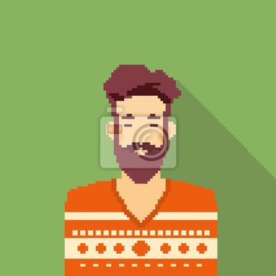 Постер-картина Пиксель-арт Человек Битник Стиль Бороды Портрет ПикселейПиксель-арт<br>Постер на холсте или бумаге. Любого нужного вам размера. В раме или без. Подвес в комплекте. Трехслойная надежная упаковка. Доставим в любую точку России. Вам осталось только повесить картину на стену!<br>