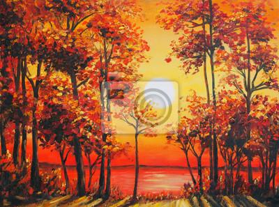 Постер Вечер Искусство масляной живописи изображение осеннего леса возле озера на закатеВечер<br>Постер на холсте или бумаге. Любого нужного вам размера. В раме или без. Подвес в комплекте. Трехслойная надежная упаковка. Доставим в любую точку России. Вам осталось только повесить картину на стену!<br>