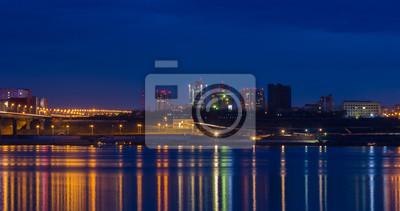 Постер Панорамные виды городов России Огни ночного городаПанорамные виды городов России<br>Постер на холсте или бумаге. Любого нужного вам размера. В раме или без. Подвес в комплекте. Трехслойная надежная упаковка. Доставим в любую точку России. Вам осталось только повесить картину на стену!<br>