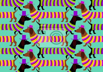 Постер-картина Оптическое искусство Таксы на прогулке (оптическая иллюзия движения). Бесшовные шаблон.Оптическое искусство<br>Постер на холсте или бумаге. Любого нужного вам размера. В раме или без. Подвес в комплекте. Трехслойная надежная упаковка. Доставим в любую точку России. Вам осталось только повесить картину на стену!<br>