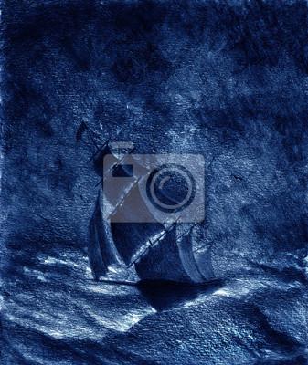 Пейзаж современный морской Парусное судно в штормПейзаж современный морской<br>Репродукция на холсте или бумаге. Любого нужного вам размера. В раме или без. Подвес в комплекте. Трехслойная надежная упаковка. Доставим в любую точку России. Вам осталось только повесить картину на стену!<br>